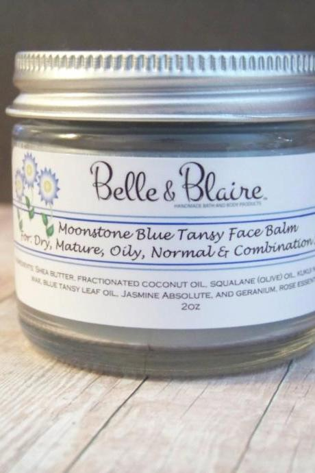 Moonstone Blue Tansy Face Balm- Plant Based Organic Skin Care- Vegan Formula- 2oz