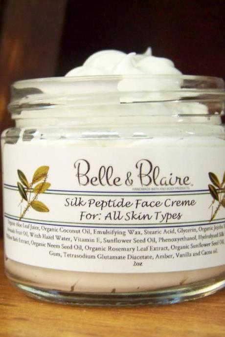 Silk Peptide Face Creme- Firming Face Cream- Natural Facial Moisturizer- Antioxidant-Rich Cream