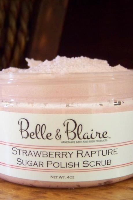 Strawberry Rapture Whipped Soap/Sugar Scrub- Strawberries, Vanilla, Jasmine, Bubble Gum, Violets